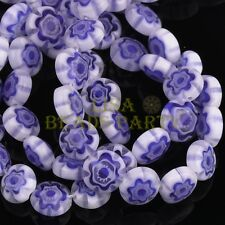 20pcs 8mm Rondelle Lampwork Millefiori Glass Flowers Charms Loose Beads Blue