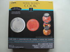 SIZZIX BIGZ DIE AND EMBOSSING FOLDER WHERE WOMEN COOK JAR LIDS BNIP *LOOK*