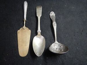 Antique cake spatula label spoon and serving spoon Holmes & Edward