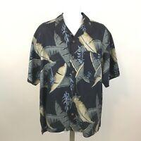 Tommy Bahama Silk Hawaiian Aloha Shirt L Floral Short Sleeve Button Front Blue