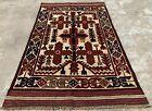 Hand Knotted Afghan Balouch Gul Barjista Kilim Kilm Wool Area Rug 4.5 x 2.9 Ft