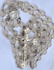 """VINTAGE/ ANTIQUE 19""""  ROSARY FROSTED CLEAR BEADS, STERLING SILVER CRUCIFIX-CHARM"""