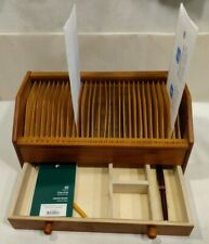 31 Slot  Bill Letter Organizer Holder Wood Drawer Cards Vintage Mail Office