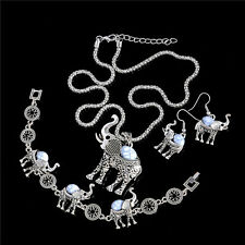 Fashion Thai Silver Women White Turquoise Wedding Jewelry Sets Necklace Earrings
