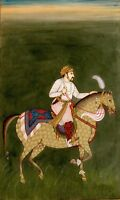 Hand-painted Fine miniature painting Mughal Emperor Jahangir Riding On Horse