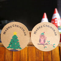 120pcs Merry Christmas Owl Paper Sealing Stickers Xmas Tree DIY Gifts Labels SF