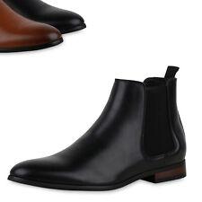 Herren Stiefel Chelsea Boots Holzoptikabsatz Klassische Schuhe 900406 Top