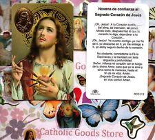 Novena de confianza al Sagrado Corazon de Jesus -Spanish -Plasticstock Holy Card