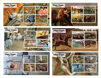 EDGAR DEGAS 12 SOUVENIR SHEETS MNH UNPERFORATED ART PAINTINGS
