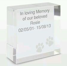 Personalised Pet Memorial Rememberance Keepsake Crystal Token Plaque Dog Cat