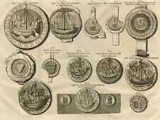 Antique Print-SEALS-COAT OF ARMS AMSTERDAM-LUBECK-STAVOREN-Wagenaar-1760