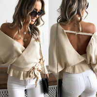 Women Lady Wrap V Neck Shirt Waist Tie Jumper Ribbed Long Sleeve Backless Tops A