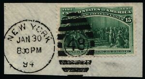 Scott #238 VF - 15c Dark Green - Used on Piece -1893