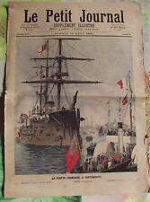Ancienne Gravure Illustration de 1891 Flotte Française à Portsmouth Torpilleur