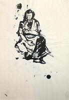 Vintage ink painting expressionist female portrait