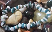 Azul Apatita y Azul Encaje Agate Cristal Curativo Chip Pulsera de abalorios