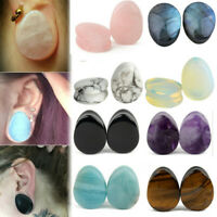 1Pair Natural Teardrop Stone Ear Plugs Gauges Double Flared Flesh Tunnels