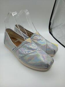 TOMS Silver Shine Slip On Shoes Size 4 UK Iridescent Sparkle Flats