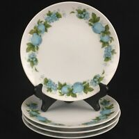 Set of 4 VTG Bread Plates by Noritake Blue Orchard Cookin Serve Fruit 6695 Japan