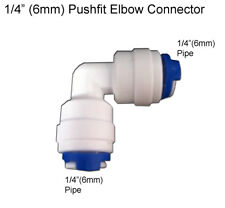 """1/4"""" Equal Elbow Angle Connector Fitting Pushfit 6mm Water Filter Pipe,Fridge,RO"""