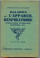 MALADIES DE L'APPAREIL RESPIRATOIRE Jacob 1938 LIVRES ANCIENS MEDECINE