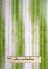 Loralie Harris Designs Basics Stripe Lime Cotton Fabric 691-837-B White YARD