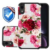 Shockproof Red Floral Case For iPhone 6 6s 7 8 Plus XS MAX XR X + Tempered Glass
