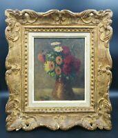 tableau ancien fleurs bouquet vase nature morte cadre montparnasse.