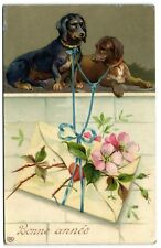 2 Dachshund dogs Happy new Year vintage artist postcard