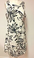 EVAN-PICONE Dress CLASSIC BLACK & WHITE Abstract FLORAL Ruffled Hemline Size 8