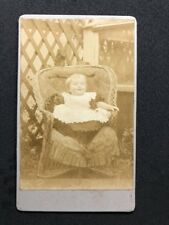 Victorian Carte De Visite CDV Unknown Little Girl Laughing Outside Chair: 3 of 3