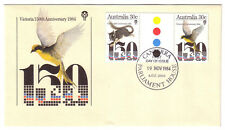 "1984 FDC Australia. Victoria 150th. Gutter pair. FDI ""CANBERRA PARLIAMENT HOUSE"""