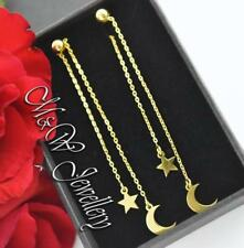 925 Sterling Silver Gold Plated Long Dangle Stud Earrings MOON and STAR