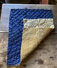 Antique 19thC Double Sided Linsey Woolsey Textile Fragment Blue Mustard AAFA #1