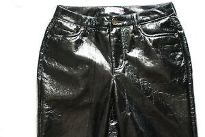 Lackhose AJC,Gr. S,schwarz getragen,Jeansschnitt,knatschig,Knautschlack