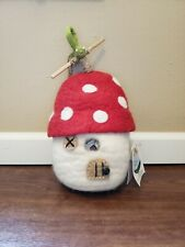 Wild Woolies Whimsical Mushroom Bird/Gnome House With Worm Natural Felt Wool