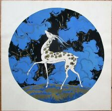 Art Deco 1920 Print/Candy/Perfume/Chocolate Box Label- Deer w/Gold Spots, French