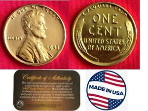1943 GENUINE 24K Gold Plated US Steel War Penny,WW2 Cent, 24K Gold Plated