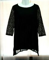 WOMEN'S CHICO'S TRAVELERS BLACK 3/4 LACE SLEEVES SHARKBITE HEM STRETCHY TOP 2