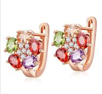 Horse Eye Morganite Amethyst Garnet Rose Gold Plated Flower Stud Earrings