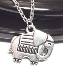 """ELEPHANT_Small Pendant on 18"""" Chain Necklace_India Africa Trunk Tusk Silver_60N"""