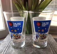 RARE 1982 World's fair glass Coca Cola Coke McDonald's Glasses 16 OZSet Of 2