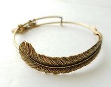 "Alex and Ani Goldtone Plume Feather Expandable 8-9"" Bangle Charm Bracelet Signed"