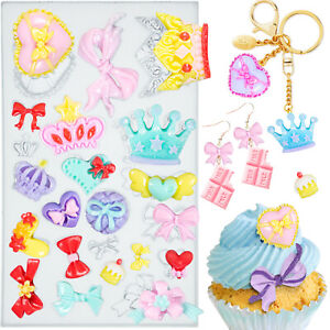 Assorted Bows Crown Heart Silicone Mould for Fondant Cake Cupcake Decoration