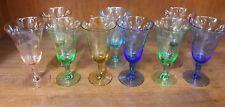 Set of 9 Harlequin Etched Wine Stem Glasses