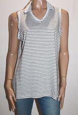ASHWORTH Brand White Grey Striped Sleeveless Polo Shirt Top Size XL BNWT #TD113