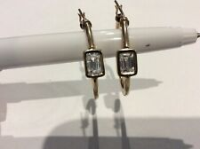 Solid 14k yellow gold hoop earrings simulated diamond emerald cut