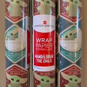 The Mandalorian Child Baby Yoda Gift Wrapping Paper Green 2 1/2' x 9'  NEW