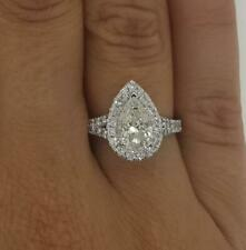 1.45 Ct Pave Split Shank Pear Cut Diamond Engagement Ring SI1 D White Gold 18k