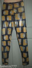 Funkibeat 8 Black Yellow Blue Green Geometric Shiny Soft Polyester Leggings